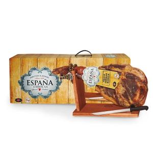 Distributeur produits espagnols: jambon serrano promotionnel avec coffret et jambon